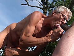 Old happy-go-lucky man suits his fantasy about a brand-new cock